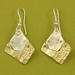 Handcrafted Pewter Goldtone Asymmetrical Tribal Necklace and Earrings Set (India) - Thumbnail 1