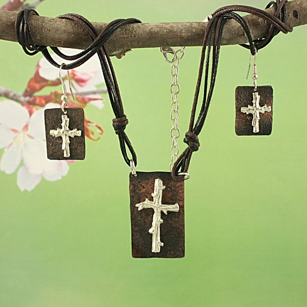 Handmade Pewter Coppertone Twig Cross Multicolor Cord Necklace and Earrings Set (India)
