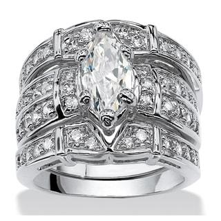 PalmBeach 3.05 TCW Marquise-Cut Cubic Zirconia Silvertone Bridal Engagement Ring Wedding Band Set Glam CZ