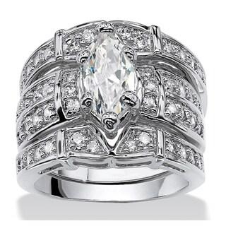 3.05 TCW Marquise-Cut Cubic Zirconia Silvertone Bridal Engagement Ring Wedding Band Set Gl
