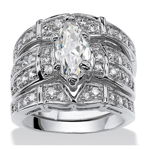 3.05 TCW Marquise-Cut Cubic Zirconia Silvertone Bridal Engagement Ring Wedding Band Set Gl