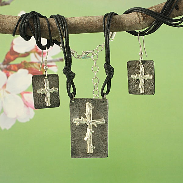 Handmade Pewter Silvertone Twig Cross Cord Necklace and Earrings Set (India)
