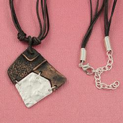 Handcrafted Pewter & Copper Asymmetrical Tribal Necklace and Earrings Set (India) - Thumbnail 1