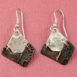 Handcrafted Pewter & Copper Asymmetrical Tribal Necklace and Earrings Set (India) - Thumbnail 2