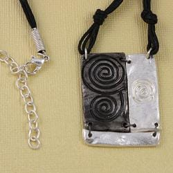 Handcrafted Pewter & Silver Swirl Art Cord Necklace and Earrings Set (India) - Thumbnail 1