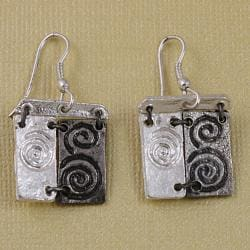 Handcrafted Pewter & Silver Swirl Art Cord Necklace and Earrings Set (India) - Thumbnail 2