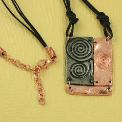 Handcrafted Pewter & Copper Swirl Art Cord Necklace and Earrings Set (India) - Thumbnail 1