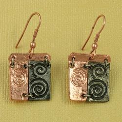Handcrafted Pewter & Copper Swirl Art Cord Necklace and Earrings Set (India) - Thumbnail 2