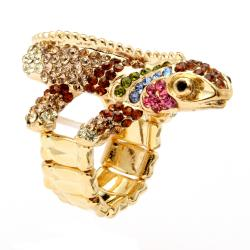 Lillith Star 14k Goldplated Crystal 'Glamazon' Gecko Stretch Ring - Thumbnail 1