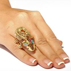 Lillith Star 14k Goldplated Crystal 'Glamazon' Gecko Stretch Ring - Thumbnail 2
