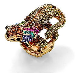 Lillith Star 14k Goldplated Crystal 'Glamazon' Gecko Stretch Ring