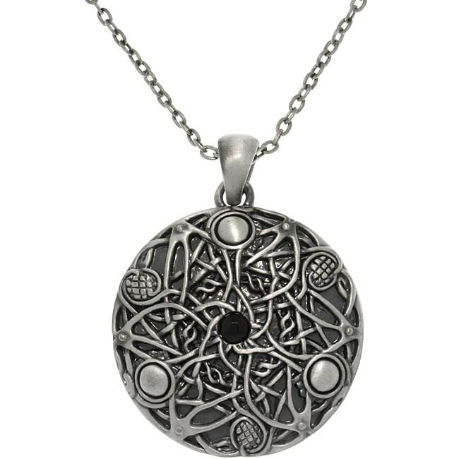 Carolina Glamour Collection Pewter Unisex Black Glass Stone Celtic Fantasy Wishes Necklace