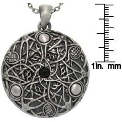 Carolina Glamour Collection Pewter Unisex Black Glass Stone Celtic Fantasy Wishes Necklace - Thumbnail 2