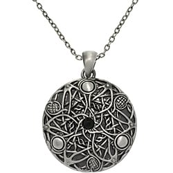 Carolina Glamour Collection Pewter Unisex Black Glass Stone Celtic Fantasy Wishes Necklace