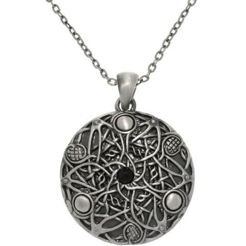 Pewter Unisex Black Glass Stone Celtic Fantasy Wishes Necklace