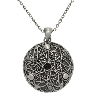 Pewter Unisex Black Glass Stone Celtic Fantasy Wishes Necklace