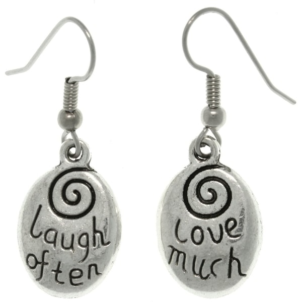 Pewter 'Laugh Often/ Love Much' Message Earrings