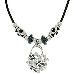 Carolina Glamour Collection Silvertone Clear Cubic Zirconia Flower Cluster Necklace