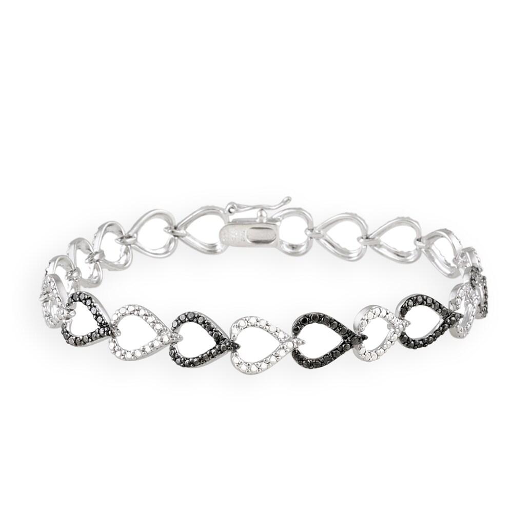 DB Designs Black Diamond Accent Black And White Heart Link Bracelet
