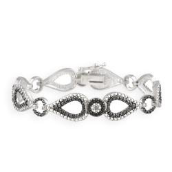 DB Designs Silvertone Black Diamond Accent Black And White Bracelet
