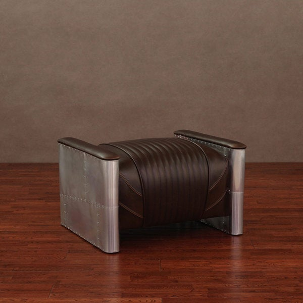 Accelerator Vintage Tobacco Leather Ottoman