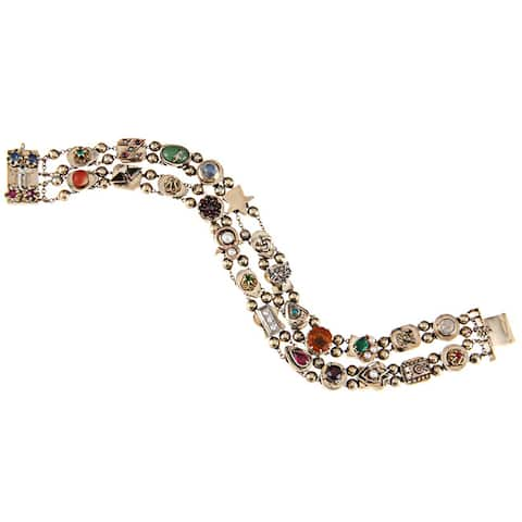 Pre-owned 14k Yellow Gold Multi-gemstone Antique Slide Estate Bracelet
