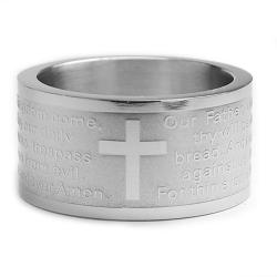 Oliveti Stainless Steel Lord's Prayer Ring (12 mm) - Thumbnail 1