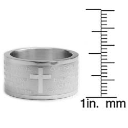 Oliveti Stainless Steel Lord's Prayer Ring (12 mm) - Thumbnail 2