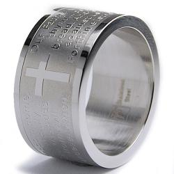 Oliveti Stainless Steel Lord's Prayer Ring (12 mm) - Thumbnail 0