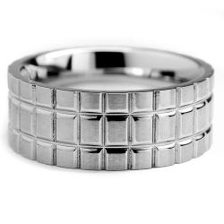 Oliveti Stainless Steel Men's Brushed Ring (8 mm) - Thumbnail 1