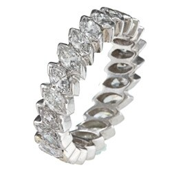 Pre-owned Platinum 3ct TDW Marquise Diamond Eternity Estate Band (J-K, VS1-VS2)