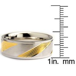 Oliveti Goldplated Stainless Steel Diagonal Slashes Ring (8 mm)
