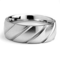 Oliveti Stainless Steel Men's Brushed Grooved Ring (9 mm) - Thumbnail 1