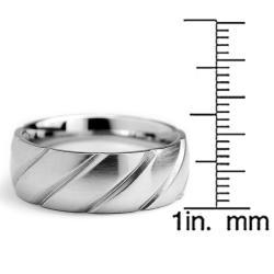 Oliveti Stainless Steel Men's Brushed Grooved Ring (9 mm) - Thumbnail 2