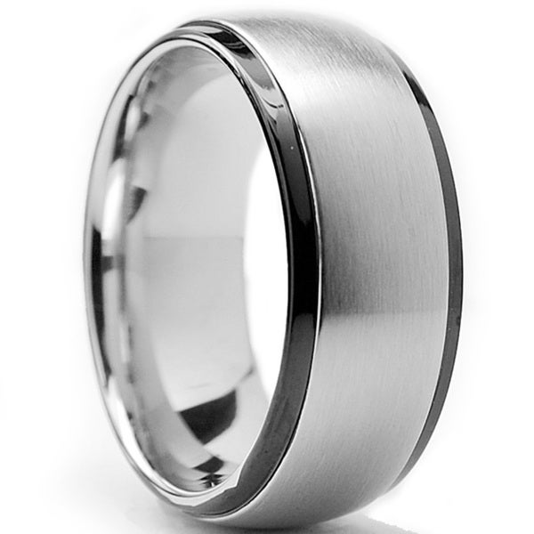 Stainless Steel Mens Wedding Band Ring 8mm: Shop Oliveti Two-tone Stainless Steel Men's Dome Ring (8