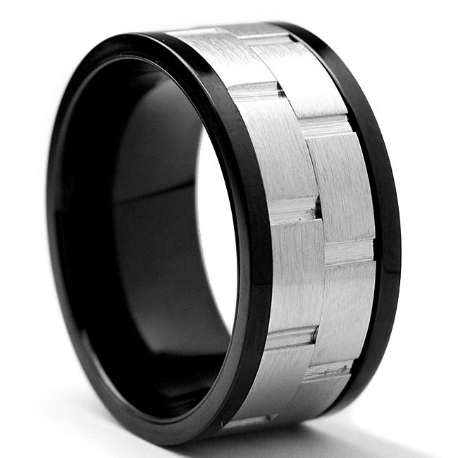 Oliveti Two-tone Stainless Steel Men's Spinner Ring (10 mm)