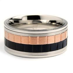 Oliveti Tri-color Stainless Steel Men's Spinner Ring (10 mm)