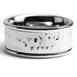 Oliveti Stainless Steel Men's Polished and Hammered Ring (10 mm) - Thumbnail 1