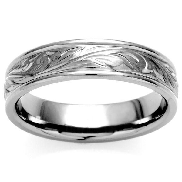 Oliveti Titanium Men's Engraved Floral Design Ring (6 mm)