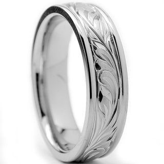 Oliveti Titanium Men's Engraved Floral Design Ring (6 mm)