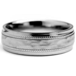 Oliveti Titanium Men's Milligrain Brushed and Hammered Ring (7 mm) - Thumbnail 1