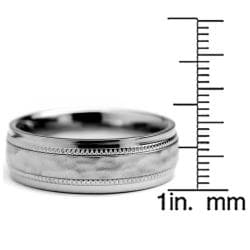 Oliveti Titanium Men's Milligrain Brushed and Hammered Ring (7 mm) - Thumbnail 2