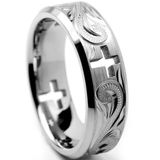 Oliveti Titanium Menu0027s Cross Cut Out And Engraved Floral Design Ring (7 Mm)