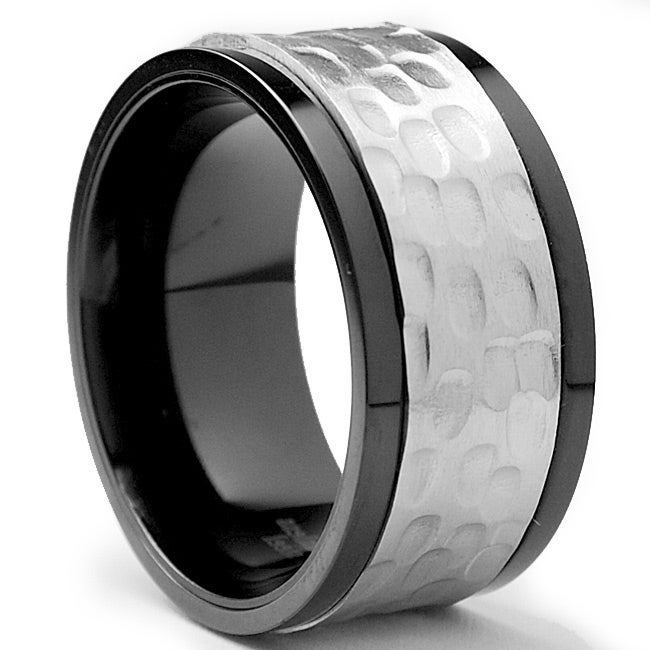 Oliveti Two-tone Stainless Steel Men's Hammered Spinner Ring (11 mm)
