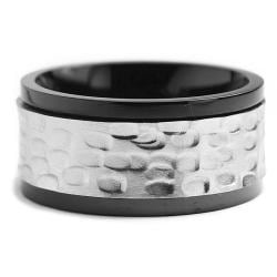 Oliveti Two-tone Stainless Steel Men's Hammered Spinner Ring (11 mm) - Thumbnail 1