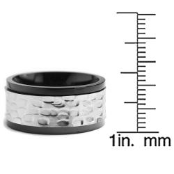Oliveti Two-tone Stainless Steel Men's Hammered Spinner Ring (11 mm) - Thumbnail 2