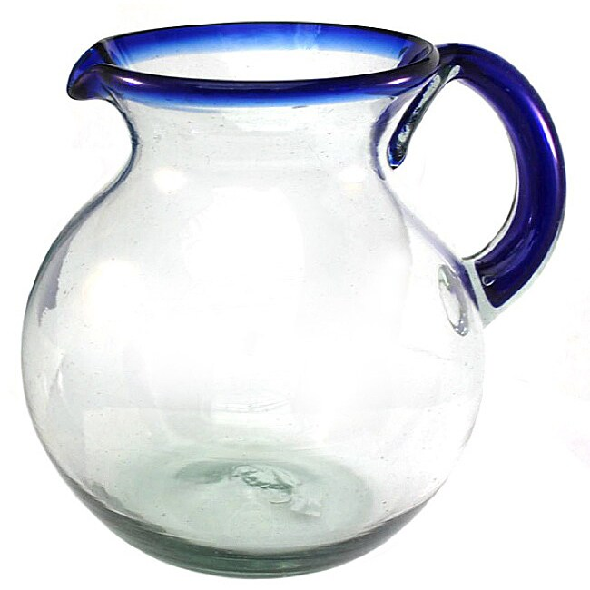 Cozumel Blue Rimmed Pitcher
