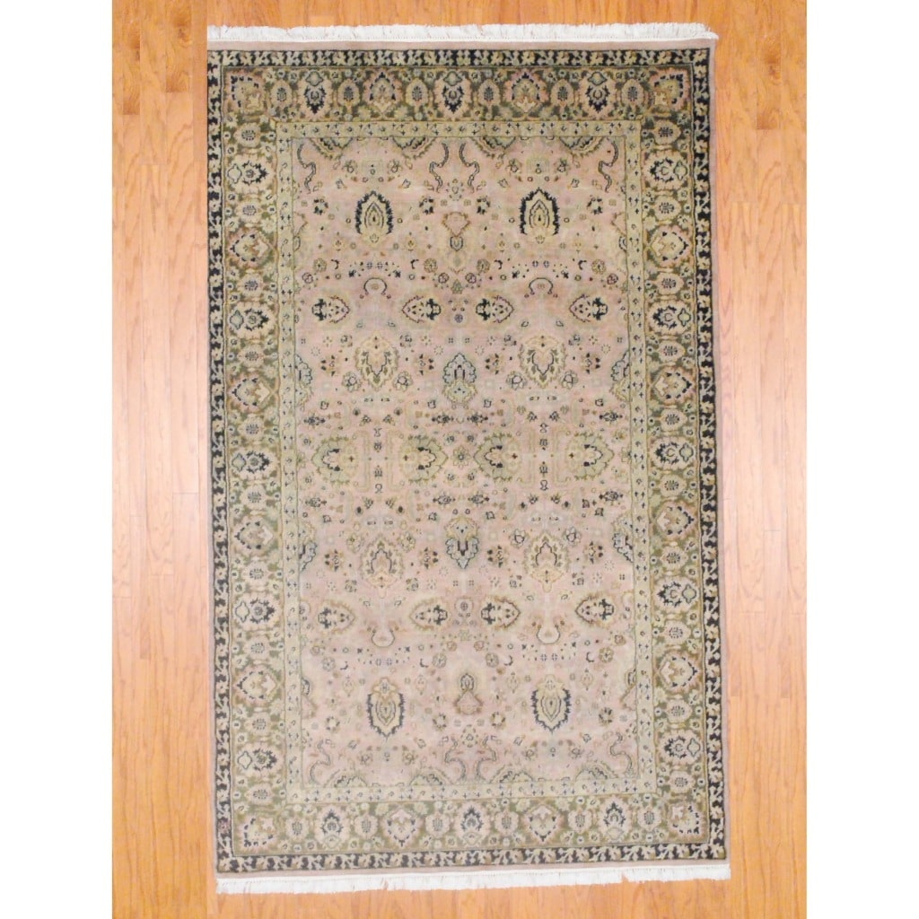 Indo Hand-knotted Mahal Beige/ Green Wool Rug (4'10 x 7'10)