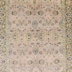 Indo Hand-knotted Mahal Beige/ Green Wool Rug (4'10 x 7'10) - Thumbnail 1