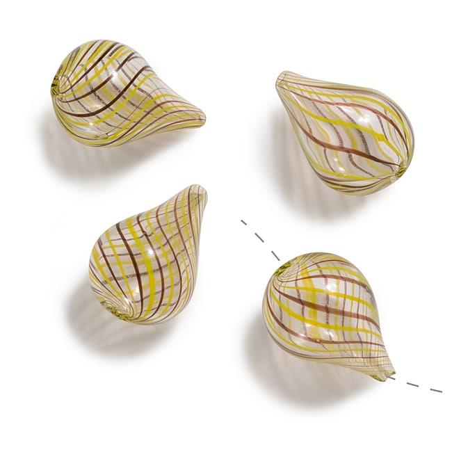 Beadaholique Blown Glass Brown Yellow Swirl Fat Drop Beads 25mm (Set of 4)
